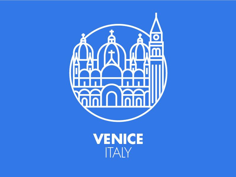 Venice monument city illustration graphic outline blu icon pictogram