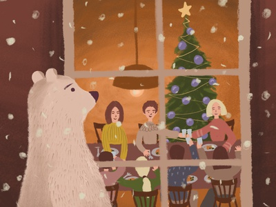 On the eve of Christmas, part 1 holiday snow new year christmas winter animal bear night character digital illustration illustration drawing digital art art adobe photoshop