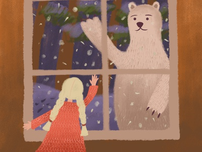 On the eve of Christmas, part 2 animal greeting girl holiday eve winter snow new year christmas bear night character digital illustration illustration drawing digital art art adobe photoshop