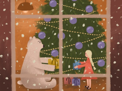 On the eve of Christmas, part 3 warm cozy happiness happy bear girl present christmas new year night character digital illustration illustration drawing digital art art adobe photoshop winter snow holiday