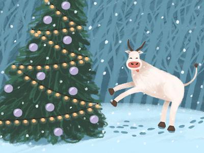 Symbol of the year 2021 animal happy forest bull christmas tree winter snow new year christmas character digital illustration illustration drawing digital art art adobe photoshop