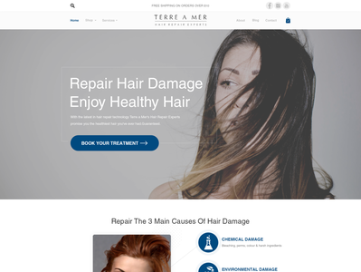 Powerful homepage design niche salon