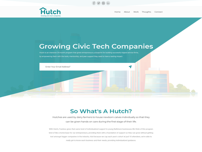 Creative marketing site to attract entrepreneurs to an incubator web page business platform simple minimalist clean