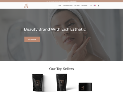 Clean Beauty Brand (eCommerce Homepage) web page brand skincare beauty modern simple minimalist clean