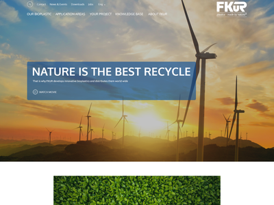 Website redesign for a leading bioplastic specialist (based on F web page modern clean bioplastic industrial