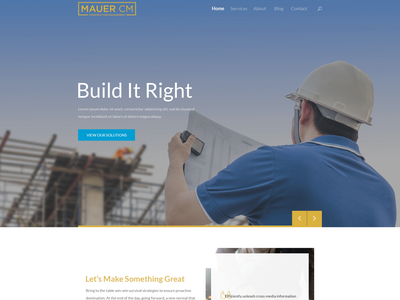 Design an impressive and professional homepage for a constructio web page simple minimalist clean constructionmanagement construction