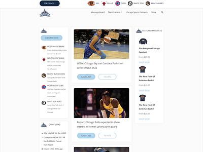 Chicago Sports Website Redesign *GREAT CASH PRIZE* web page simple minimalist clean chicagoblog blog sportblog sport