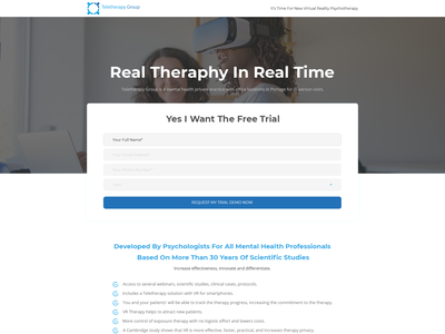Marketing page for new type of therapy landingpage simple minimalist clean virtualreality psychotherapy medical