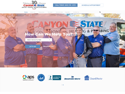 Homepage Design Mock-Ups For HVAC & Plumbing Company - All Wire-