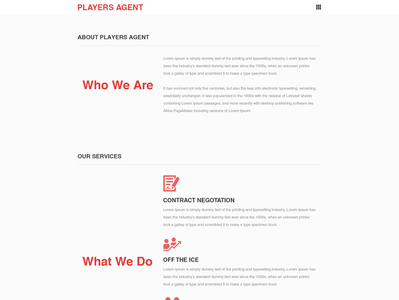Landing web page for sports agency