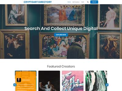 Design CryptoArt.directory, the first portfolio for Crypto Artis art simple clean ui minimalist clean