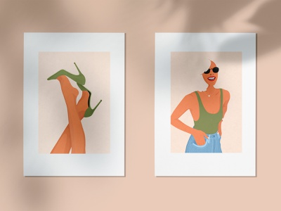Ready to Print Illustrations - Sexy green series smiling digtal art green sexy woman frame illustration wall decoration photoshop print
