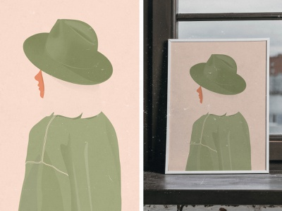 Girl With Green Hat Illustration decoration poster art digital photoshop illustration hat green girl
