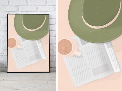 Get Ready For The Day Illustration morning print frame summertime working day photoshop green hat coffee newspaper illustration