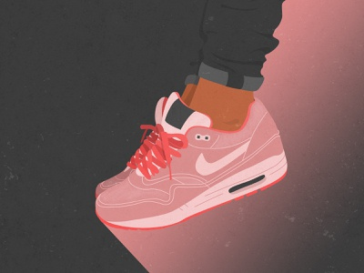 Pink Girl Sneakers Illustration vintage legs poster wall decoration nike print photoshop illustration sneakers girl pink