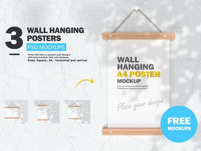FREE Wall Hanging Posters - PSD Mockups wall art wall hanging free mockup poster mockup psd mockup freebie free