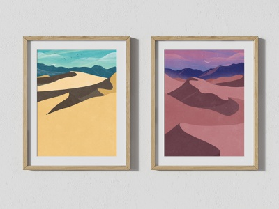 Death Valley Dunes USA - Day and Night - Two Landscape Posters dessert sand nature photoshop digitalart prints illustration poster landscape usa dunes death valley