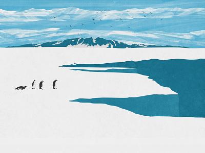 Antarctica Glacier With Penguins print digtal art photoshop illustration nature poster landscape penguins ice glacier antarctica