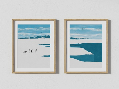 Antarctica Glacier With Penguins antarctica glacier ice penguins landscape poster nature illustration photoshop digital art print