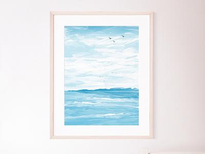 Nautical Landscape Poster - Seaside Digital lllustration sea photoshop digital illustration poster art digital seaside poster landscape nautical