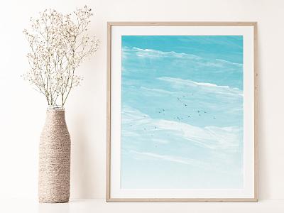 Sky Above Clouds Landscape Poster - Digital lllustration skyline birds photoshop illustration poster art digital illustration digital print poster landscape clouds sky