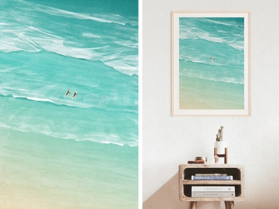 Surfers Ripping The Waves waves sport surf surfers surfing art digtal photoshop illustration print poster landscape seaside nautical