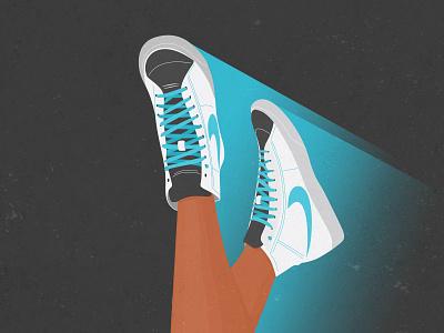 White Girl Sneakers Illustration print poster photoshop art illustration sport nike sneakers white