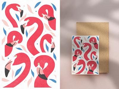 Flamingo Poster - Cute Animal Illustration digital art wall frame art print poster clipart pattern leaves fauna pink bird photoshop illustration animal flamingo