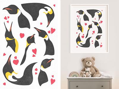 Penguins With Hearts Poster - Cute Animal Illustration antarctica fauna kids room wall frame art print digital art photoshop illustration poster animal cute hearts love