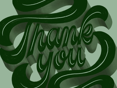 Thank You natural retro green hand lettering lettering typography type