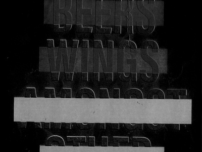 Beers and Wings wings beer black and white lettering typography type