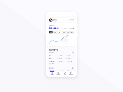 Daily UI - 006 - User Profile savings stocks app financial fintech minimal clean app design dailyui
