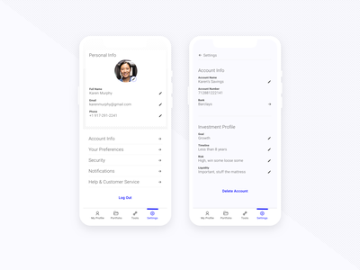 Daily UI - 007 - Settings user settings settings finance fintech minimal clean dailyui app design daily ui