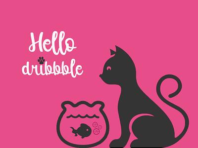 Hello Dribbble! dribbble cat fish debuts illustrator photoshop first shot hi hello