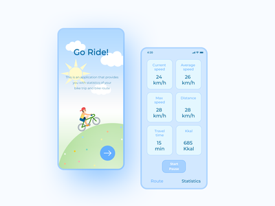 Go Ride App bicycling sport app sport ux vector illustration ui app design application design