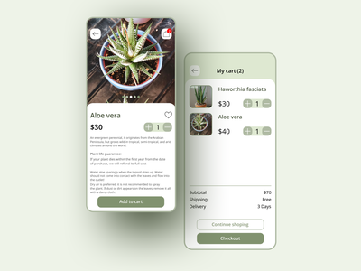 Flower Shop uidesign uiux ui  ux ui design aloe vera aloe succulent plants flower shop shopping cart shopping app shop flower e-commerce app ui e-commerce app application app design design