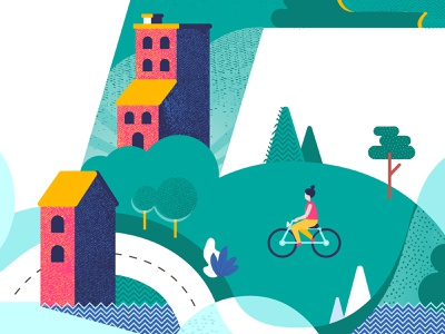 """Close up detail of """"Five Years"""" graphicdesign art high contrast clean colors road bicycling buildings flatdesign nature textures green dots illustration grainy curves abstract blue forms composition"""