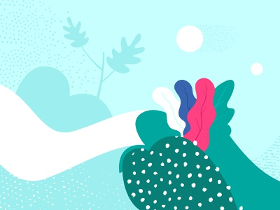 """Second Close up detail of """"Five Years"""" Illustration minimal flatdesign floral leaves clean sunset illustration landscape nature blueprint pink green textures circles dots curves blue forms composition abstract"""