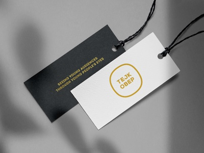 "Bookmark Design for ""TEJK OBEP"" Festival brand typo performance music festival creative  design art direction mockup print design bookmark golden elegant white black minimalism typography art logo branding art design"