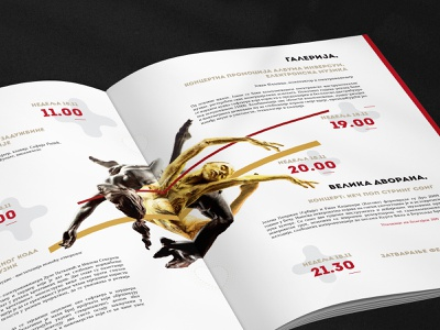 """Catalogue Design for """"TEJK OBEP"""" Festival - Content Page typogaphy graphic design gray movement music festival elegant design minimalism gold red forms typography art lines sculptures catalogue design print design design art composition abstract"""