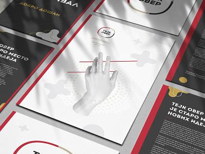 "Flyer Design for ""TEJK OBEP"" Festival mockup elegant music festival typography graphicdesign lines golden hand art direction branding black grainy dots red print design abstract forms composition art"