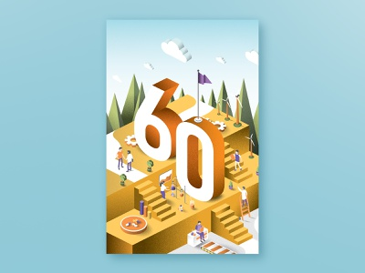 60th Anniversary - Poster Design Concept flat design graphicdesign poster art print design curves poster chemestry ecology composition colorfull caracterdesign print numbers forms grainy flatdesign 60 poster design illustration