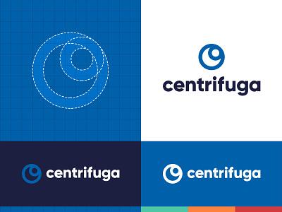 Centrifuga Logo minimal modern print design art identity design branding centrifusion font elegant font simple logo blue composition typogaphy color palette classic blue design graphic design logotype logotype design logo