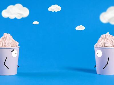Perfect Kiss :* sweet video blink eyes cookie art hands creative ice cartoon illustration kiss clean blue foam clouds icecream motiongraphics motion stop motion animation animation