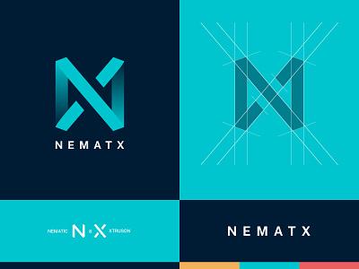 NEMATX - Logo Design sharp blue branding art logodesign n x tipography presentation logotype logo color palete colors lines gradient graphic graphic design graphicdesign composition