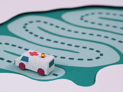 Ambulance Rush - Stop Motion Loop papercut modeling composition driving curved movement design green rush ambulace car road paperart handcraft art video motiongraphic motion design animation stopmotion