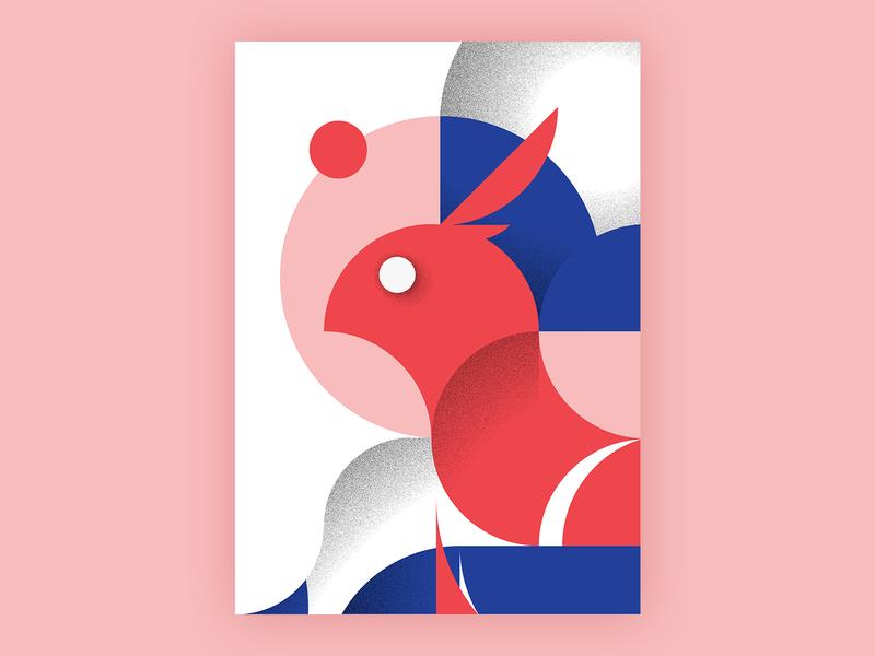 Bird and The Moon forms shapes poster art red blue pink bird illustration illustration art composition abstract grain texture circles moon bird grainy flat vector design illustration