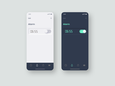 Daily UI 015 - On/Off Switch alarm app daily ui 015 neumorphism onoff switch mobile app mobile ui daily ui ui challenge ui design daily ui challenge