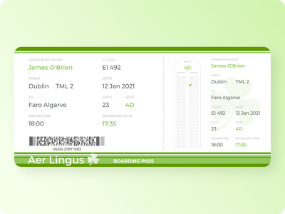 Daily UI 024 - Boarding Pass airplane daily ui 024 024 ireland print design boarding pass graphic design aer lingus airline interface design dailyui challenge dailyui uiux daily ui daily ui challenge ui design ui challenge