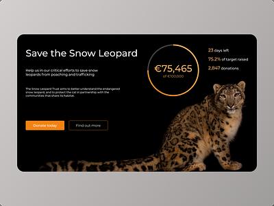Daily UI 032 - Crowdfunding Campaign ui 032 daily ui challenge 032 nature 032 ui ui design interface design website design snow leopard crowdfunding crowdfunding campaign dailyuichallenge dailyui ui challenge